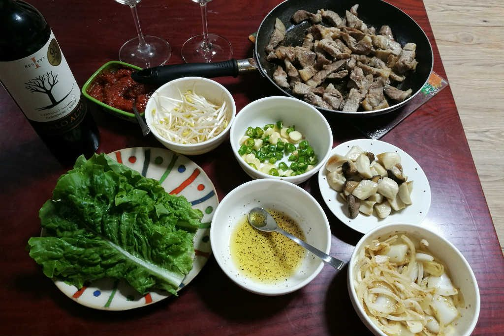 My attempt of a homemade Korean BBQ. I substituted Soju for wine. Not the best choice!