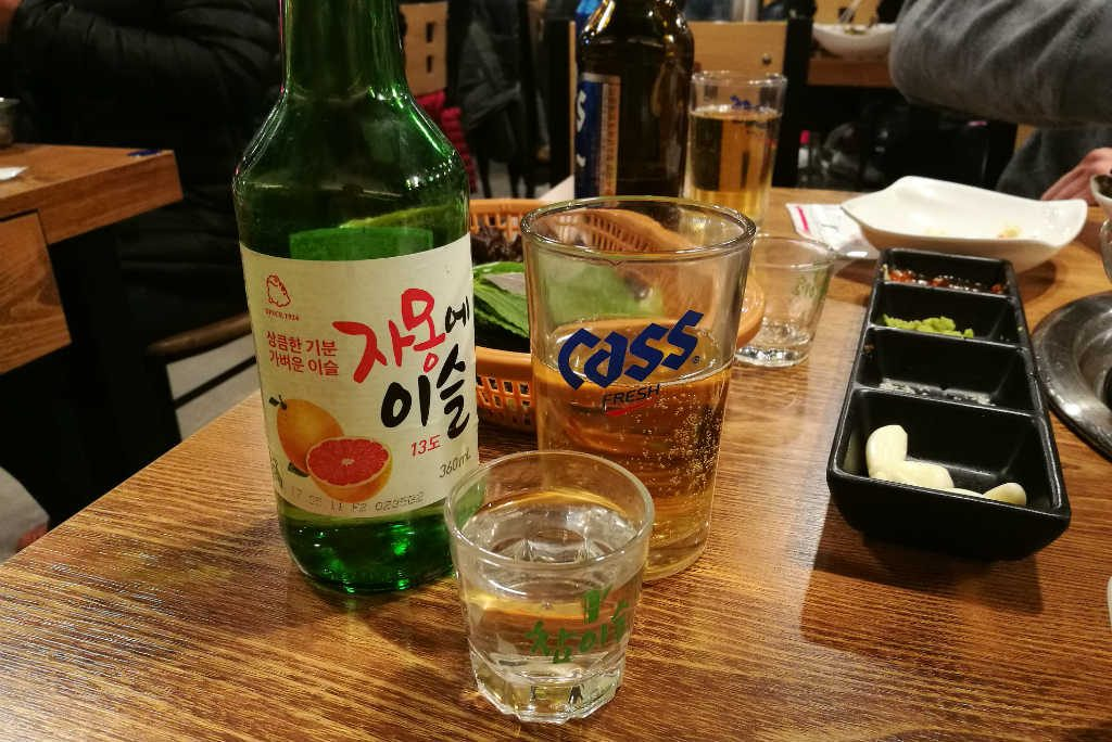Soju and Cass are always a good combo when eating at a Korean BBQ restaurant